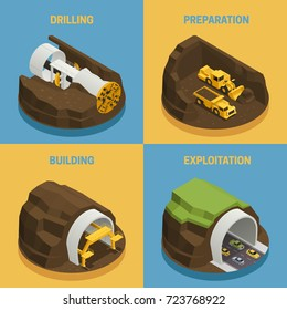 Stages of tunnel construction process isometric 2x2 icons set isolated on colorful backgrounds 3d vector illustration