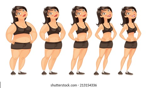 Stages of weight loss of a young woman from fat to slim. Gradual development. Funny cartoon character. Vector illustration. Isolated on white background. Set