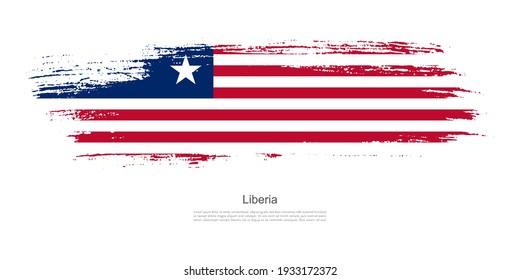 Stain brush stroke flag of Liberia with creative brush flag banner theme background