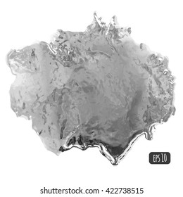 Stain of liquid silver or mercury metal. Quicksilver smooth texture. Vector illustration.