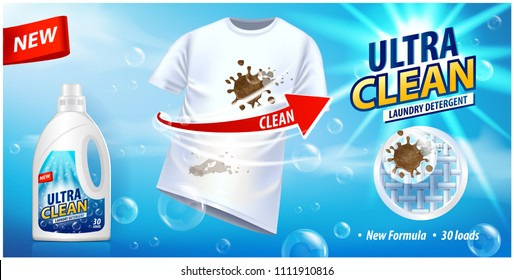Stain remover, ad vector template or magazine design. Ads poster design on blue background with white t-shirt and stains for your design