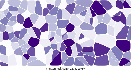 Stained glass colorful voronoi with fillet, vector abstract. Irregular cells background pattern. 2D Geometric shapes grid. Aspect Ratio 2:1