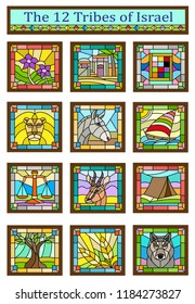 Stained glass design of the 12 tribes of Israel. Eps10