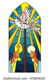 Stained Glass Illustration Featuring a Priest Raising the Host and the Chalice