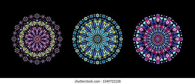 Stained glass illustrations collection, circle shape, stylized rose window vector ornament, tracery. Round frames set, radial floral motive design element. Colorful mosaic decoration, black background