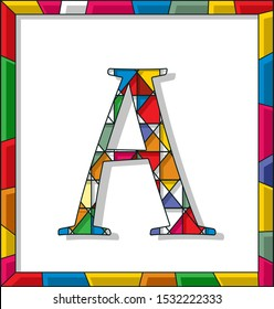 Stained glass letter A over white background, framed vector