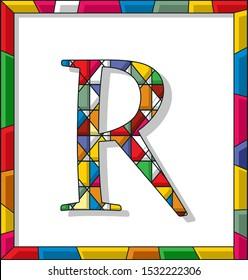 Stained glass letter R over white background, framed vector