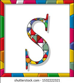 Stained glass letter S over white background, framed vector
