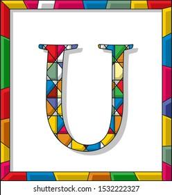 Stained glass letter U over white background, framed vector