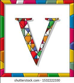 Stained glass letter V over white background, framed vector