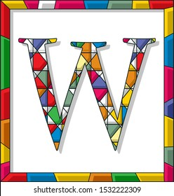 Stained glass letter W over white background, framed vector