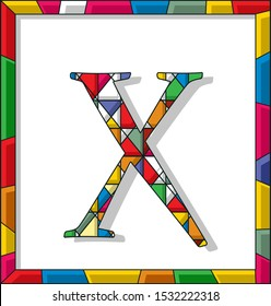 Stained glass letter X over white background, framed vector
