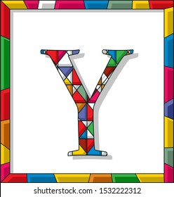 Stained glass letter Y over white background, framed vector
