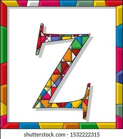 Stained glass letter Z over white background, framed vector