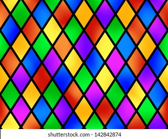 Stained glass pattern, vector illustration, seamless without gradient mesh