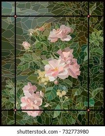 Stained Glass Roses Painting in Frame