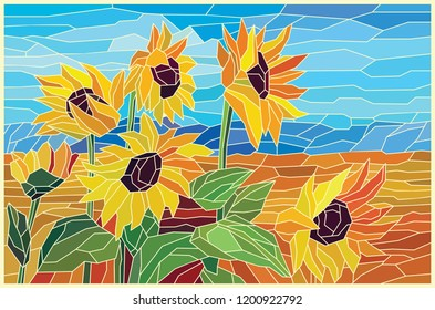 Stained glass sunflowers in the field. Vector graphics
