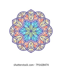 Stained glass template, round elements for stained-glass windows. Simple flower mandala in linear style. Vintage decorative element. Oriental pattern illustration. Vector illustration