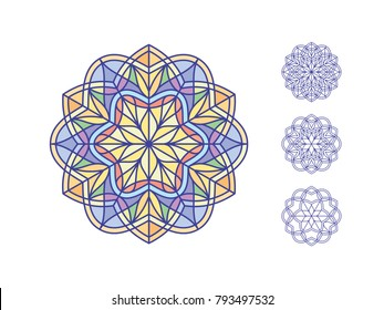 Stained glass templates, round elements for stained-glass windows. Simple mandala flowers in linear style. Vintage decorative element. Oriental pattern illustration. Vector illustration.