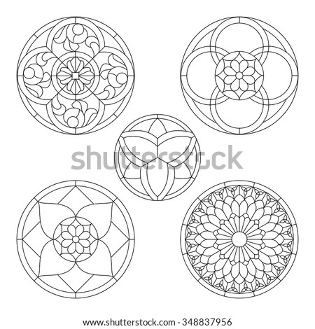 Stained glass templates round elements stained stock vector royalty stained glass templates round elements for stained glass windows maxwellsz