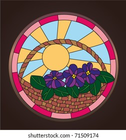 Stained Glass Violets. Vector ornament.