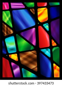 Stained Glass Window with abstract shapes and colorful glass inserts.  Vector EPS-10 file, transparency used.