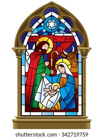 Stained glass window depicting Christmas scene in gothic frame isolated on white background. Vector illustration