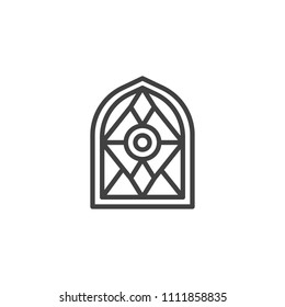Stained glass window outline icon. linear style sign for mobile concept and web design. Vintage window frame simple line vector icon. Symbol, logo illustration. Pixel perfect vector graphics