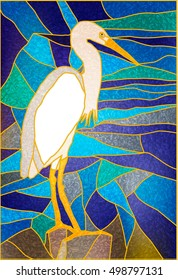 Stained glass Window. Vector composition of white herons on the water. For ArchiCAD, interiors, design. Egret on water. Leaded pane. Tiffany stained glass for the interiors.