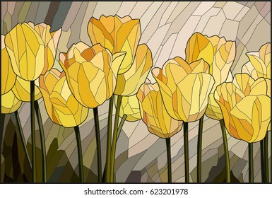 Stained glass yellow tulips
