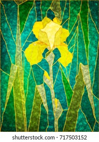 Stained-glass composition of yellow iris flower and leaves. Yellow iris on a green background of leaves. Stained glass window for interior design. Tiffany stained glass. Leaded pane.
