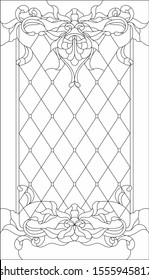 Stained-glass panel in a rectangular frame, abstract floral arrangement of buds and leaves in the art Nouveau style. Decorative design of the window or door. Outline vector