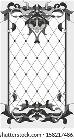 Stained-glass panel in rectangular frame, abstract floral stained glass arrangement of buds and leaves, Art Nouveau style. Glass painting, decorative design of the window or door. Vector illustration