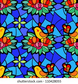 stained-glass window with the birds and flowers.