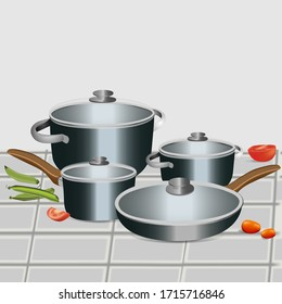 stainless cook ware set vector illustration