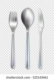 Stainless cutlery tableware set of fork spoon and knife realistic image with transparent background vector illustration