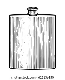Stainless flask illustration, drawing, engraving, ink, line art, vector