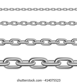 Stainless metal broad and thin steel realistic chains fragments collection for decoration and construction isolated vector illustration