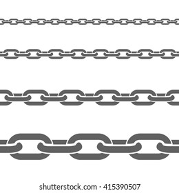 Stainless metal broad and thin steel chains fragments set for decorative seamless border black flat vector illustration