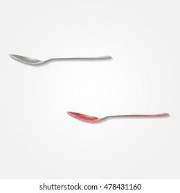 Stainless metal spoon side view kitchenware low resolution flat triangle polygon vector eps10