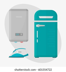 Stainless refrigerator with fashion industrial boiler iron metallic cuisine kitchenware and household utensil fridge appliance food freezer vector illustration.