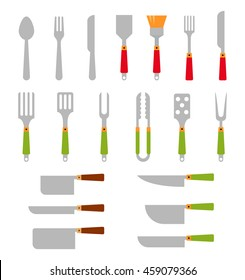 Stainless steel BBQ grill tools and cooking.