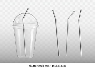 Stainless steel drinking straw in plastic glass with dome lid mockup. Eco-friendly, reusable bar, kitchen utensil for cocktails and beverages 3d realistic vector set isolated on transparent background