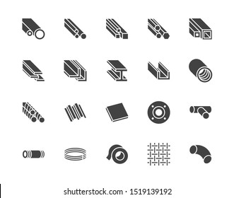 Stainless steel flat glyph icons set.  Black signs metallurgy products, construction industry. Silhouette pictogram pixel perfect.