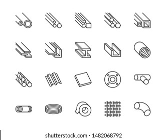 Stainless steel flat line icons set. Metal sheet, coil, strip, pipe, armature vector illustrations. Outline signs for metallurgy products, construction industry. Pixel perfect 64x64. Editable Strokes.