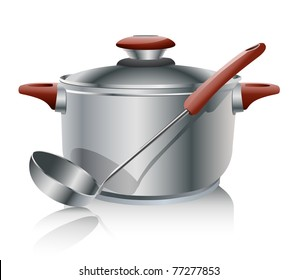 stainless steel pan isolated on white