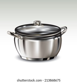 Stainless steel pot isolated on background. Vector illustration
