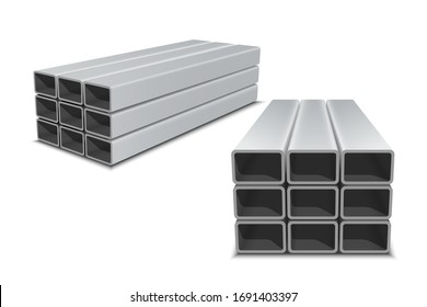Stainless steel profiles or tubes. Profile metal pipe stacked in pile. Square or rectangular metal pipe isolated on white background. Steel materials, construction supplies.Vector illustration.