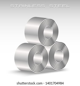 Stainless steel sheet in coil, 3 rolls stacking, icon logo metal sheet industries, 3D isolated vector