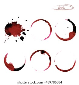 Stains of circles from wine. Imprint. Vector illustration. Vintage style. For banners, menus, postcards,  packaging,  shops